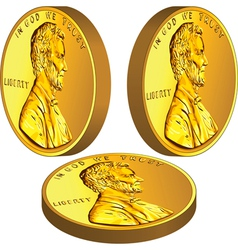American gold money one cent coin with Lincoln vector image