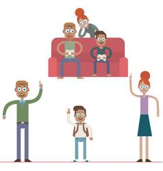 cartoon family characters vector image