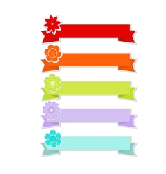 Cute ribbons with flower vector image vector image