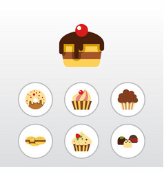 Flat cake set of sweetmeat dessert biscuit and vector