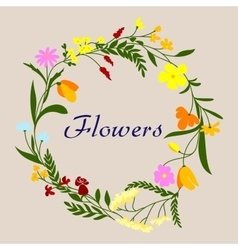 Floral frame with spring field flowers and herbs vector image