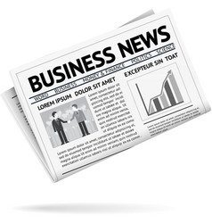 Folded newspaper presenting business news vector image vector image