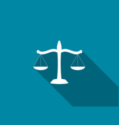 scales of justice flat icon with long shadow vector image vector image