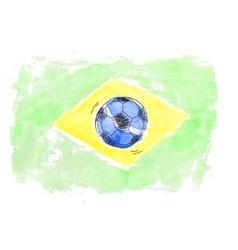 Soccer ball and flag of Brasil vector image