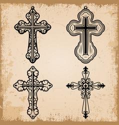 vintage decorative religious crosses set vector image