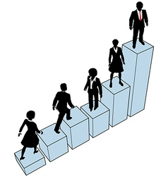 Business people climb stand on chart vector image