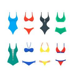 cartoon color woman swimwear set vector image vector image