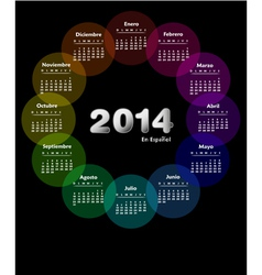 Colorful calendar for 2014 in spanish vector