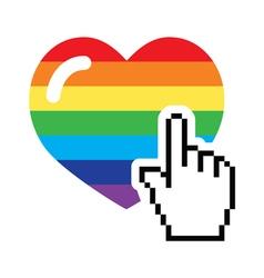 Gay symbol - rainbow heart with cursor hand icon vector image vector image