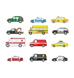 Set of different types transportation icons vector image