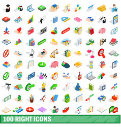 100 right icons set isometric 3d style vector image