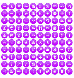 100 toys for kids icons set purple vector image