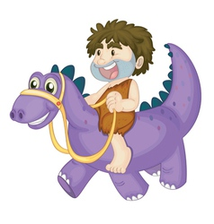 a boy riding on dinosaur vector image