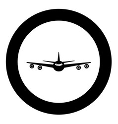 airplane icon black color in circle or round vector image