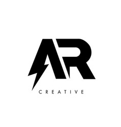 Ar letter logo design with lighting thunder bolt vector
