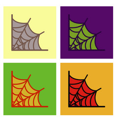 Assembly flat icons spiders web vector
