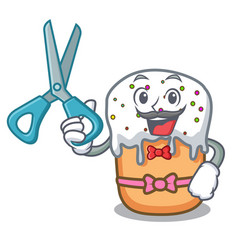 barber easter cake character cartoon vector image