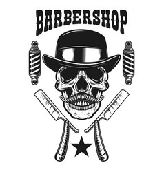 barbershop emblem template skull with moustache vector image