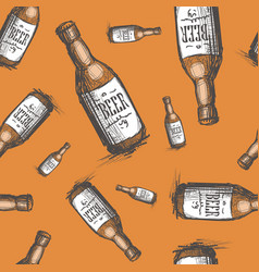 beer bottle seamless pattern oktoberfest festival vector image