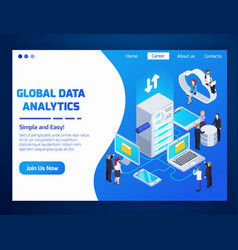 big data isometric design vector image