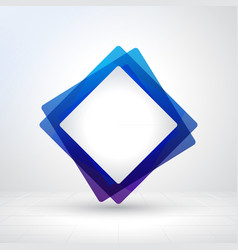 blue square frame creative layout made with white vector image