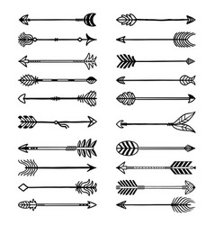 boho arrows bows stylized weapons in ethno style vector image