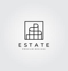 building logo line art minimalist symbol design vector image