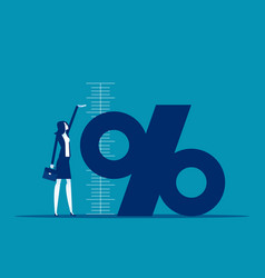 Business percentage symbol measuring growth vector