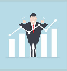 businessman thumbs up with growth graph vector image