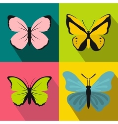 Butterfly banners set flat style vector