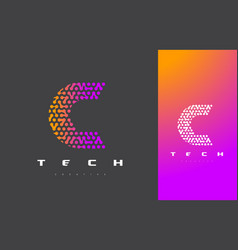 c letter logo technology connected dots letter vector image