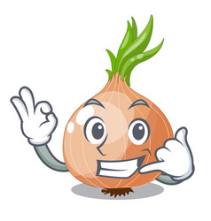 Call me cartoon ripe onion in the kitchen vector