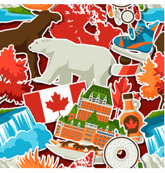 canada sticker seamless pattern vector image
