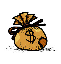 Cartoon image of money bag icon money symbol vector