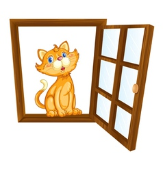 cat and window vector image