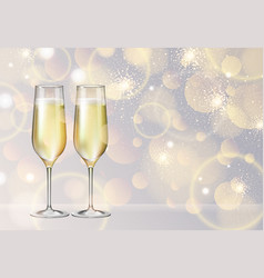 champagne glass on holiday silver background vector image