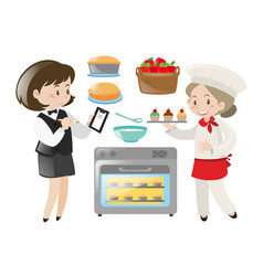 Chef and waitress working vector