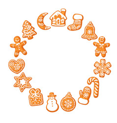 christmas gingerbread cookies round frame hand vector image