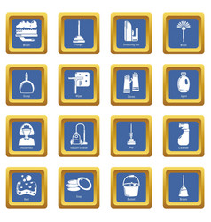 cleaning tools icons set blue square vector image