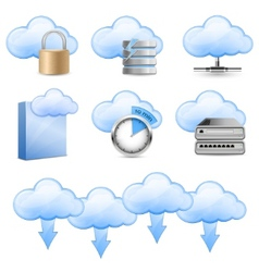 cloud hosting icons vector image