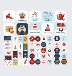 Collection christmas stickers isolated vector