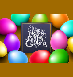 color eggs happy easter lettering modern vector image vector image