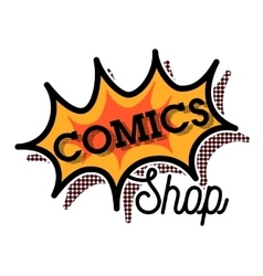 Color vintage comics shop emblem vector image