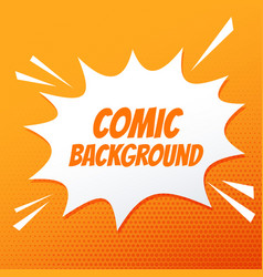 Comic speech bubble burst on orange background vector