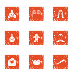 Congratulatory card icons set grunge style vector