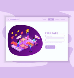 crm system isometric web page vector image