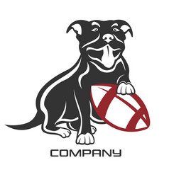 dog pit bull with ball logo vector image