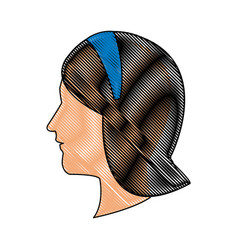 Drawing head profile young woman blue headband vector