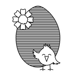 egg painted with little chick easter celebration vector image