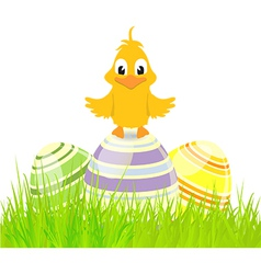 Eggs and chick on grass vector